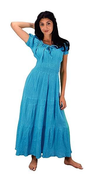 372e66f1d0 Peach Couture Gypsy Boho Cap Sleeves Smocked Waist Tiered Renaissance Maxi  Dress (Medium, Turquoise)