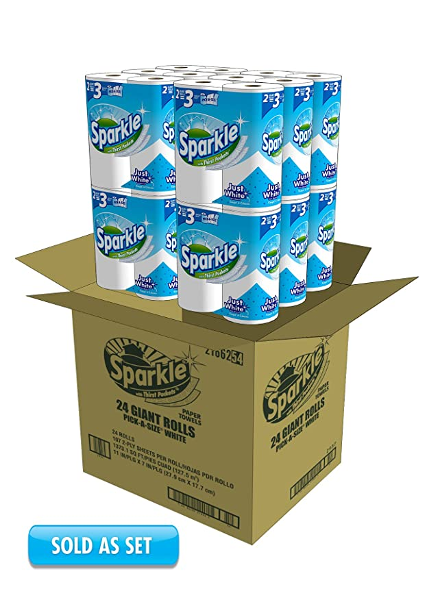 Amazon.com: Sparkle Paper Towels Giant Rolls Pick-a-Size, White, 6 Count: Health & Personal Care