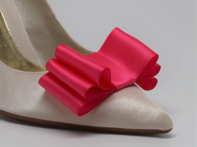 7691682e7f2bc Amazon.com: Detachable Satin Bow Shoe Clips Front Hot Pink Set of 2 ...