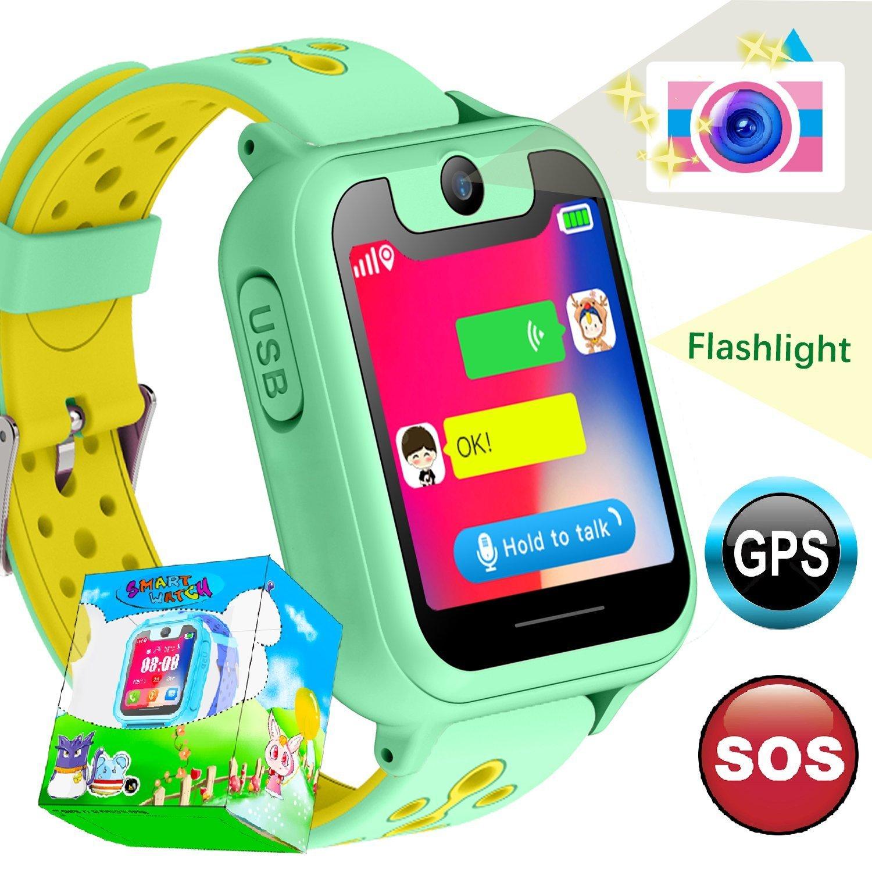 Smartwatch para Niños, Relojes Inteligentes para Niños y Niñas con GPS Tracker Sos antipérdida Alarma Podómetro Tarjeta SIM Ranura de la Cámara de ...