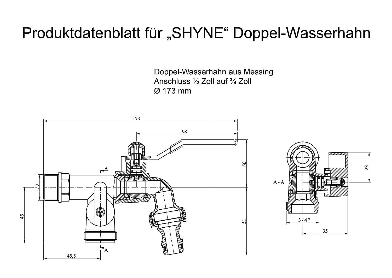 SHYNE Premium 1/2 Zoll Doppel-Wasserhahn aus Messing rost