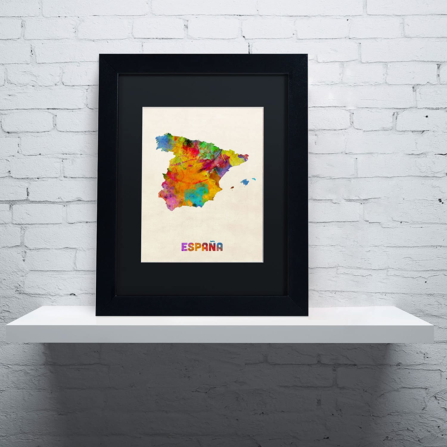 Amazon.de: Markenzeichen Fine Art \'Spanien Watercolor Map\' Leinwand ...