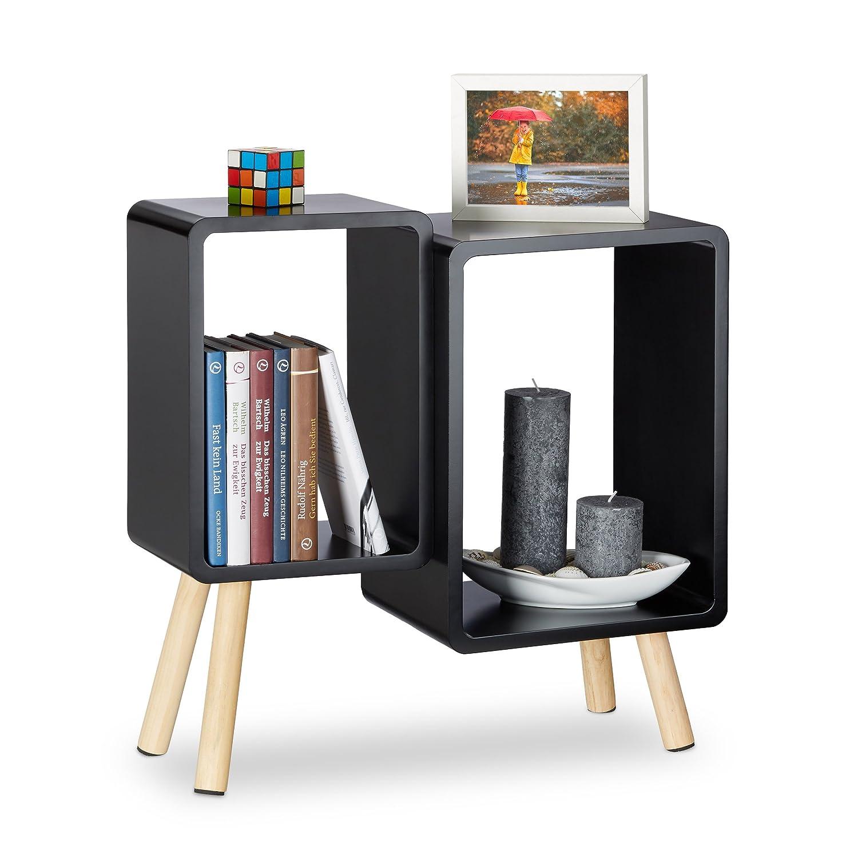 Relaxdays Würfelregal 2 Fächer, Retro Cubes mit Beinen, dekorativer Beistelltisch, Holzregal HBT 55,5x55x24 cm, schwarz