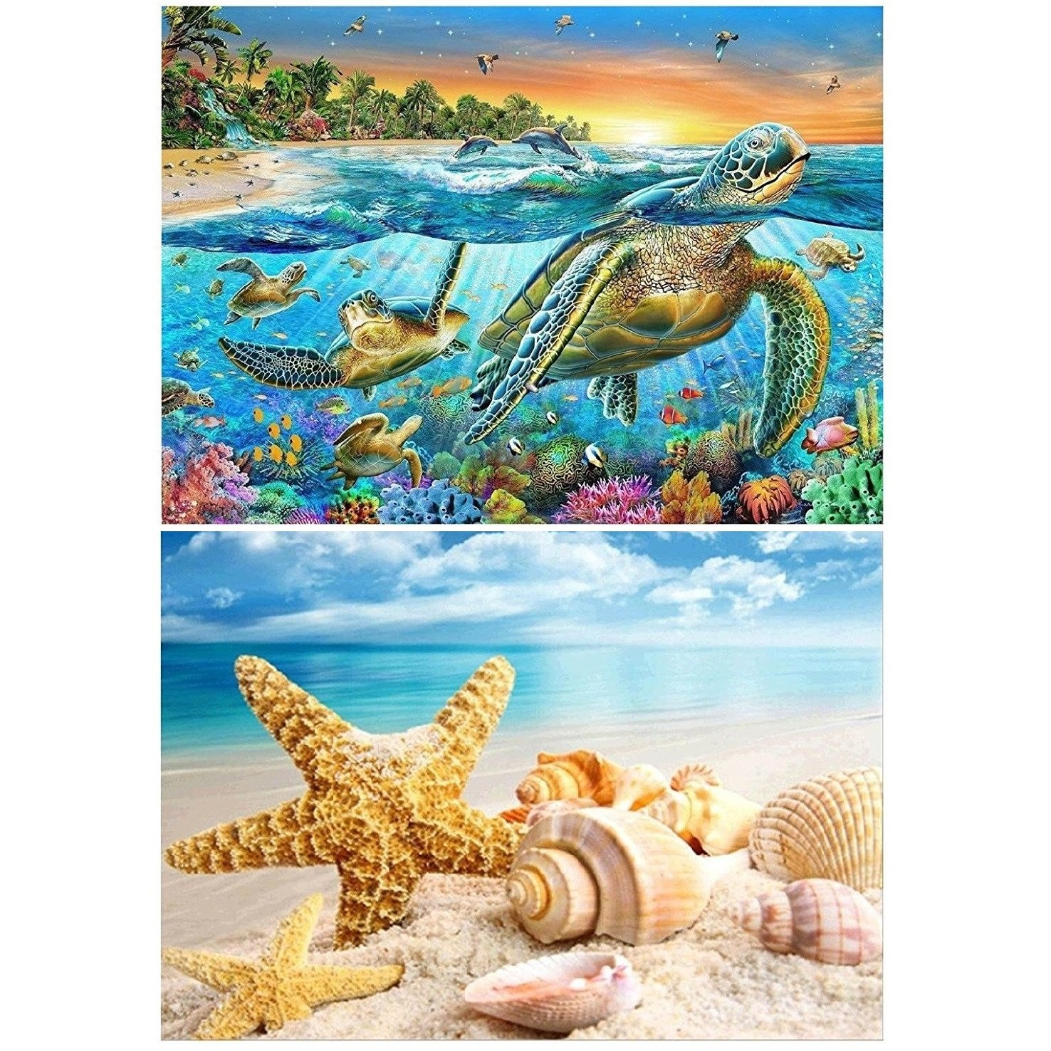 2 Packs 5D DIY Diamond Painting Set, Full Drill Diamond Painting Decorating Wall Stickers for Home Wall Decor, Sea Turtle and Starfish Seashell (40X30CM/16X12inch)