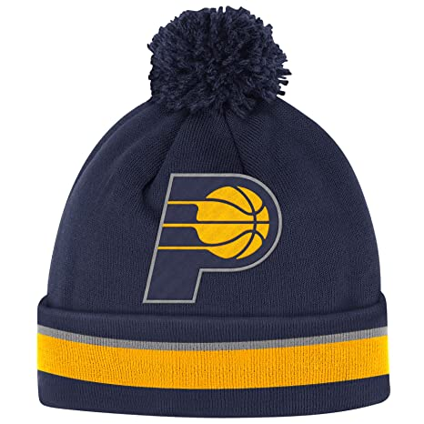 Amazon.com   Mitchell   Ness Indiana Pacers Striped Cuff Pom Knit ... 47e26a2e365
