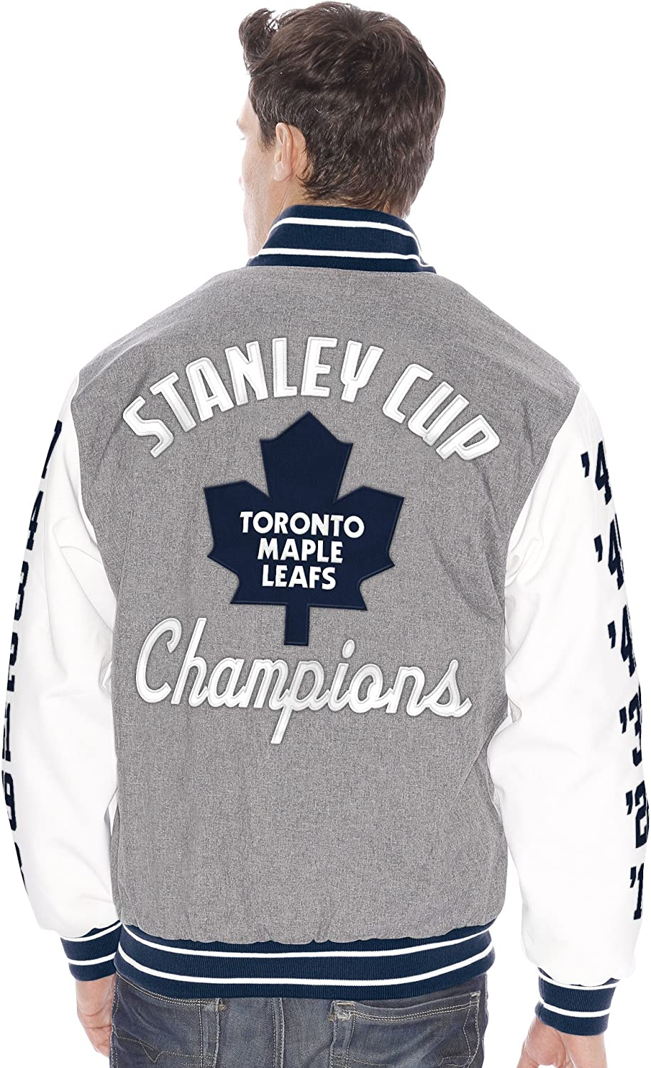 Toronto Maple Leafs G Iii Kneel Down Stanley Cup Commemorative Varsity Jacket Jackets Amazon Canada