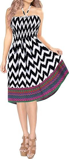 TALLA Talla única. LA LEELA Vestido de Tubo Corto ut_2386 Partido de la impresión de algodón de Las Mujeres