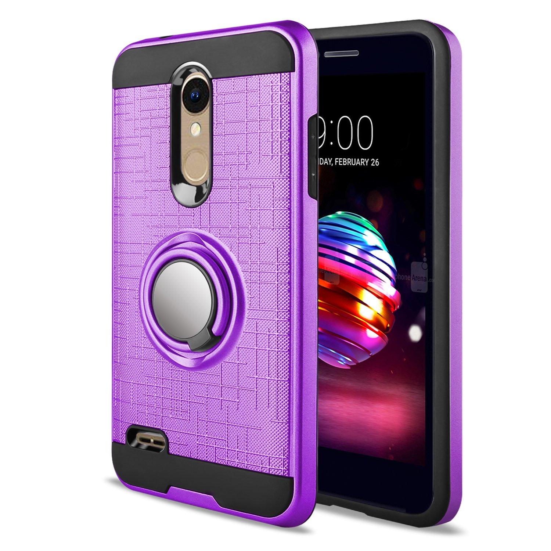 LG K30 Case,LG Phoenix Plus/LG Harmony 2/LG Premier Pro/LG K10 2018 Case  with HD Screen Protector,Anoke Cellphone 360 Degree Rotating Ring Holder