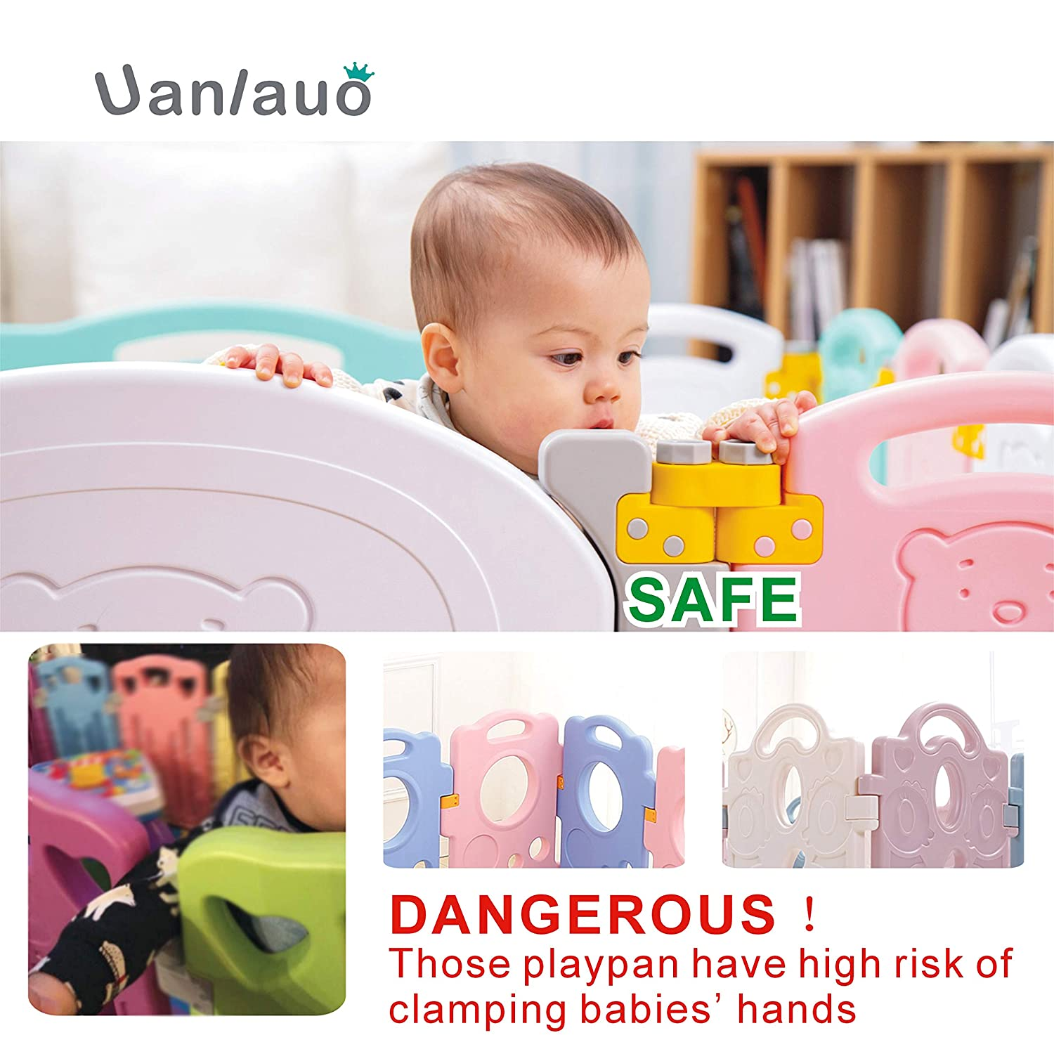 Foldable Baby Playpen Kids Activity Centre Safety Play Yard Home Indoor Outdoor New Version Bear