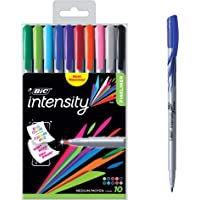 BIC Intensity Fineliner Medium Point Pens, 1.0mm – Set of 10 Markers, Reusable Pack – Assorted Fashion Colours, No Bleed for Writing, Adult Colouring