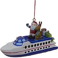 Santa On A Ferry Boat Christmas/Everyday Ornament