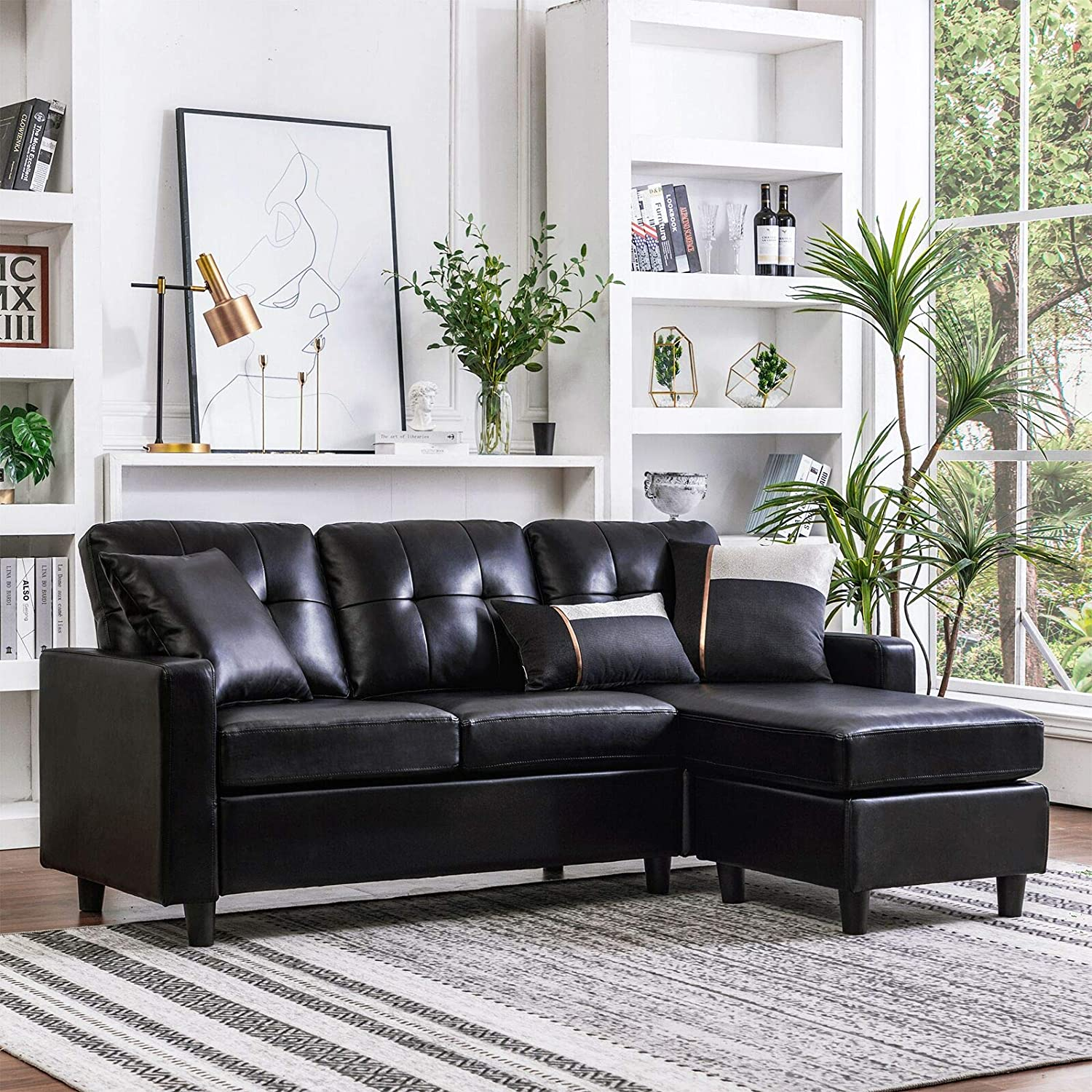 HONBAY leather sofa set for living room