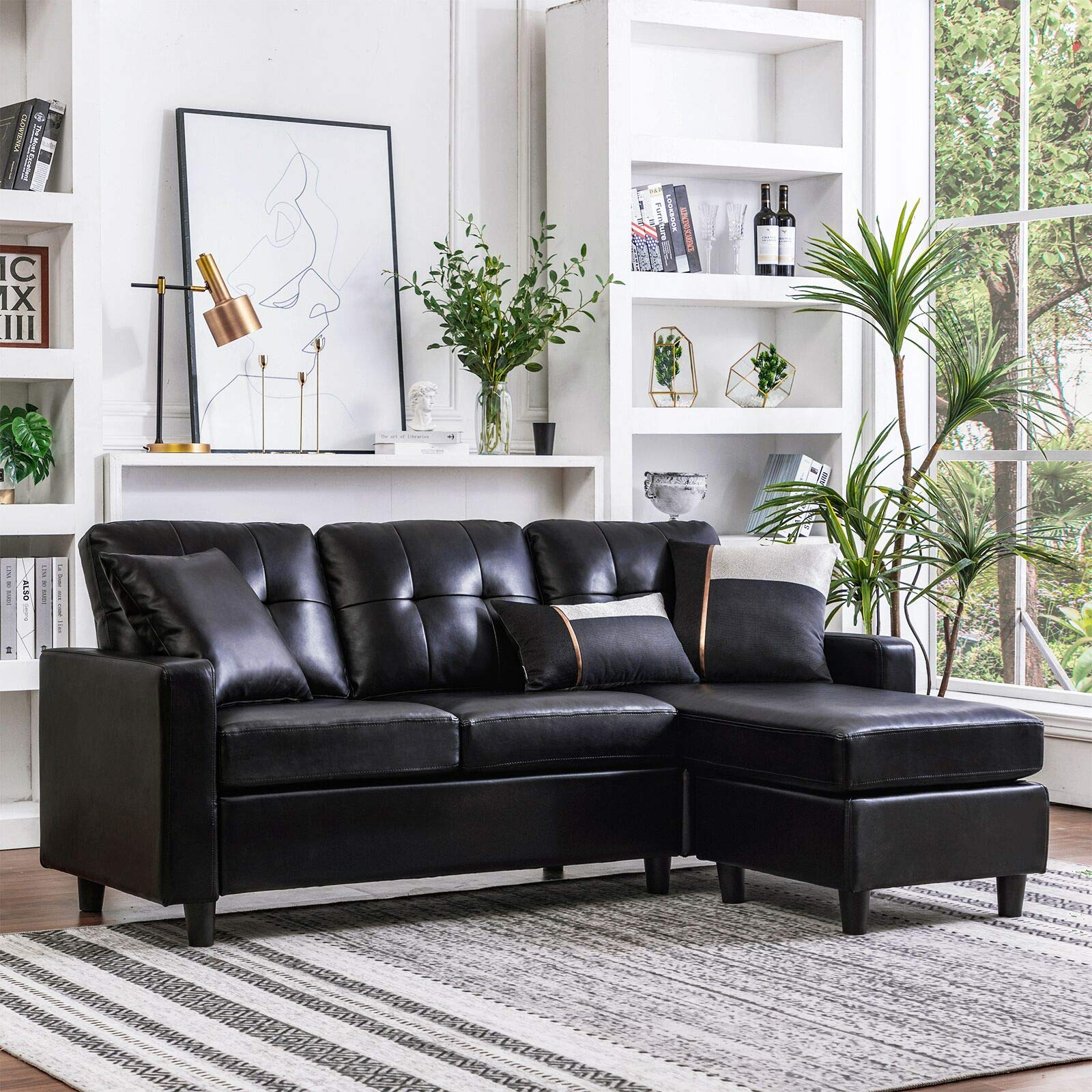 HONBAY Convertible Sectional Sofa Couch Leather L-Shape Couch with Modern Faux Leather Sectional for Small Space Apartment Black by Honbay