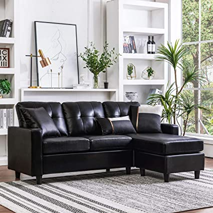 Surprising Honbay Convertible Sectional Sofa Couch Leather L Shape Couch With Modern Faux Leather Sectional For Small Space Apartment Black Download Free Architecture Designs Scobabritishbridgeorg