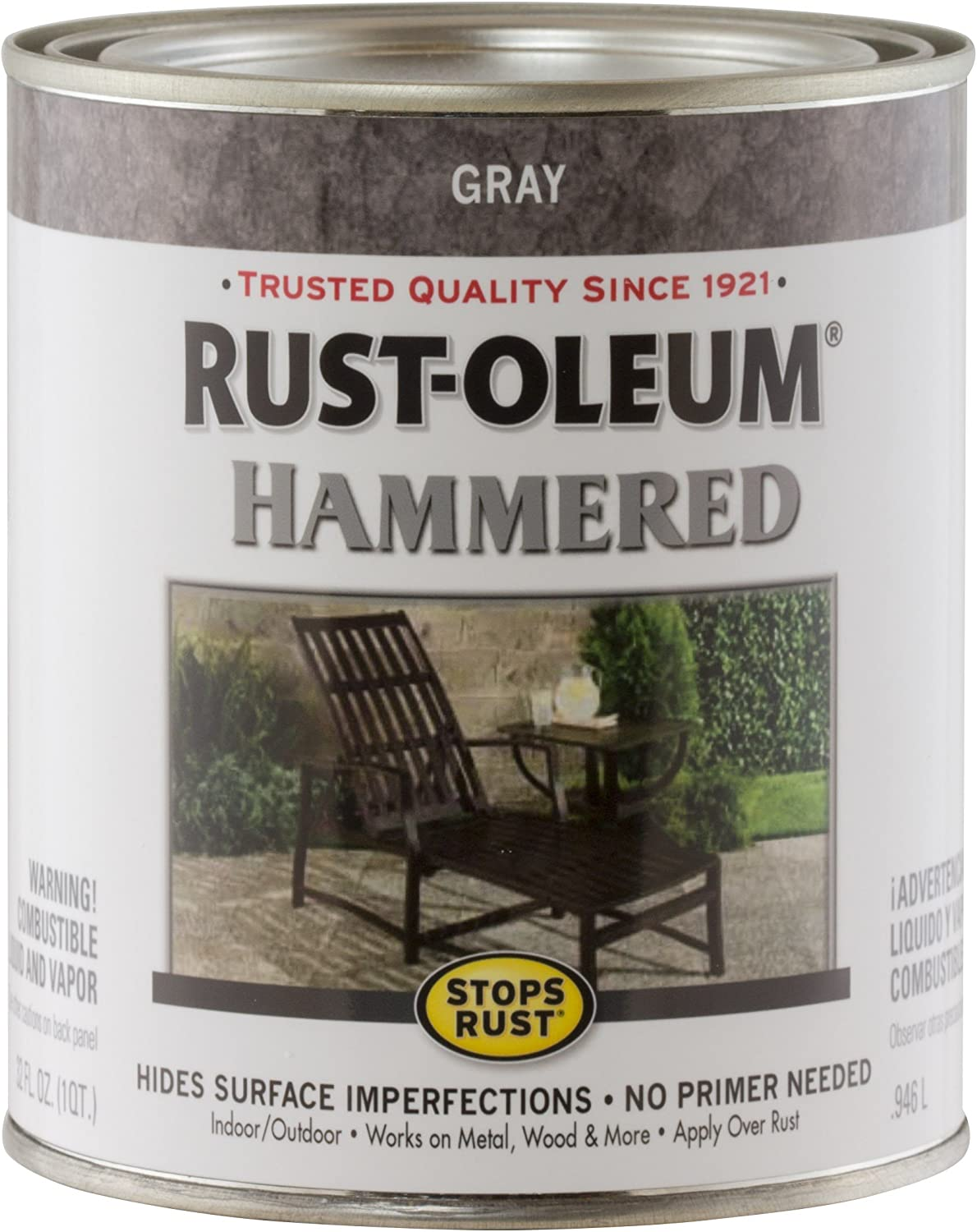 Rust-Oleum 7214502 Hammered Metal Finish, Gray, 1-Quart (Packaging may vary)