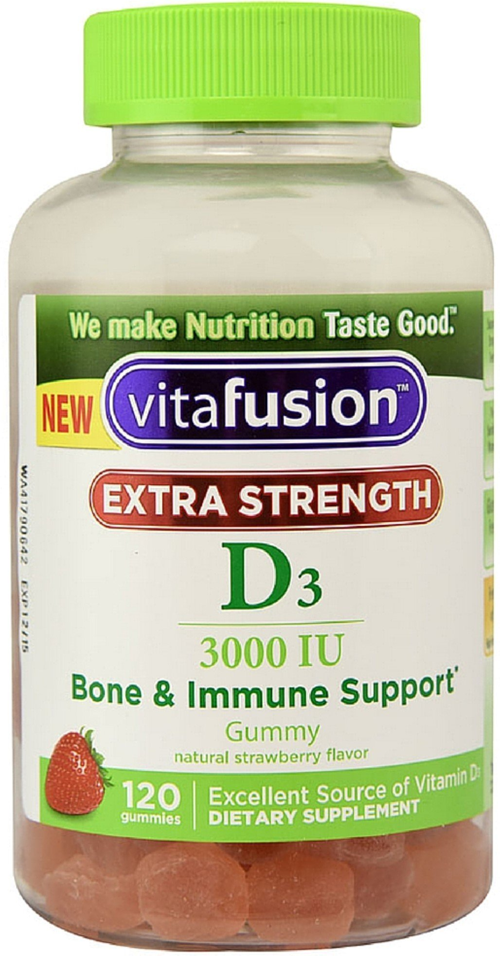 Vitafusion Extra Strength D3 Gummies, Natural Strawberry 120 ea (Pack of 7)