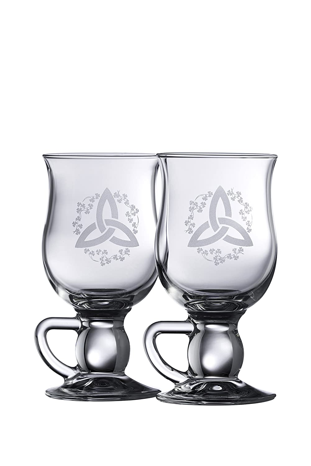 Galway Crystal Trinity Knot Shamrock Latte (1 Pair), Clear 20051/2US