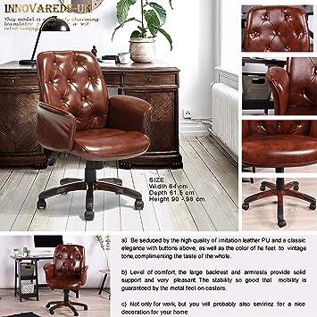 Innovareds-uk - Silla de oficina (64 x 61,5 x 90 - 98 cm, piel sintética, altura ajustable, giratoria), diseño retro, color marrón: Amazon.es: Hogar