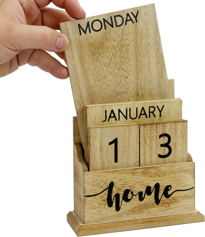 H/ölzerner Weinlese-ewiger Kalender Stilvoller ewiger Tischkalender Lift /'n/' Flip Block Design Perfekt f/ür zu Hause oder im B/üro M/&W Holz