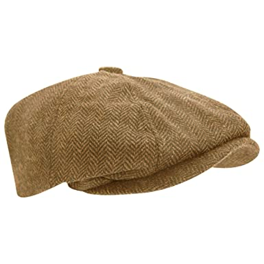 87a08e4993724 Universal Textiles Mens Wool Blend Herringbone 8 Panel Newsboy Cap  Amazon.co.uk   Clothing
