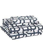 AmazonBasics Juego de sábanas, microfibra suave y fácil de lavar, infantil, matrimonial, circuito azul