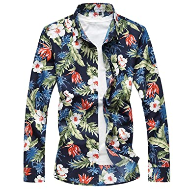 c51e02d03 Image Unavailable. Image not available for. Colour: YOUTHUP Mens Hawaiian  Shirt Fancy Floral Shirt Long Sleeve Beach Shirts Casual Top