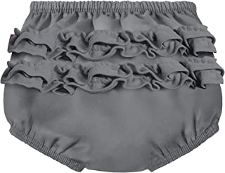 product image for City Threads Baby Girls' Ruffle Swim Diaper Cover Reusable Leakproof for Swimming Pool Lessons Beach, Charcoal, 2T