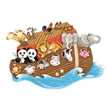 RoomMates Noahs Ark Repositionable Childrens Wall Stickers, Multi Colour