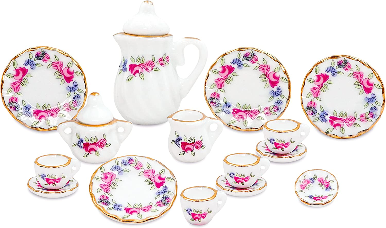 Zamonji 17pcs Dollhouse Miniature Teapot Cup Dish Set - 1/12 Scales Pink Flower