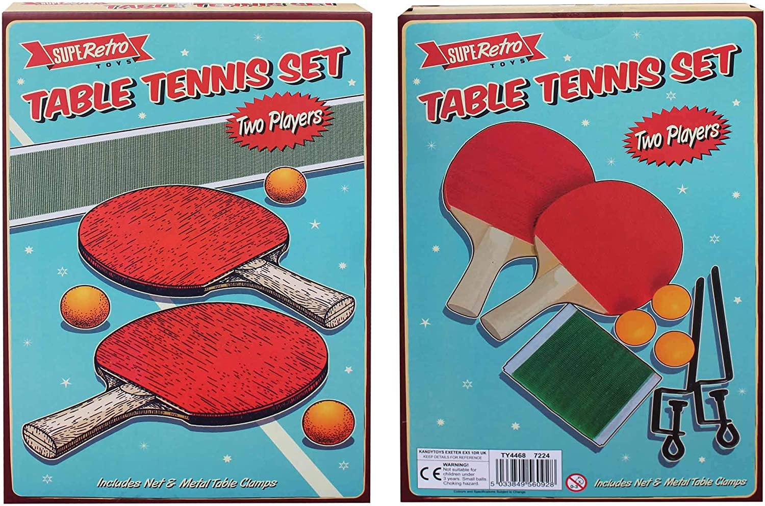 Net /& Clamps in Retro Style Box 3 Ping Pong Balls Table Tennis Set New 2 Player With 2 Bats