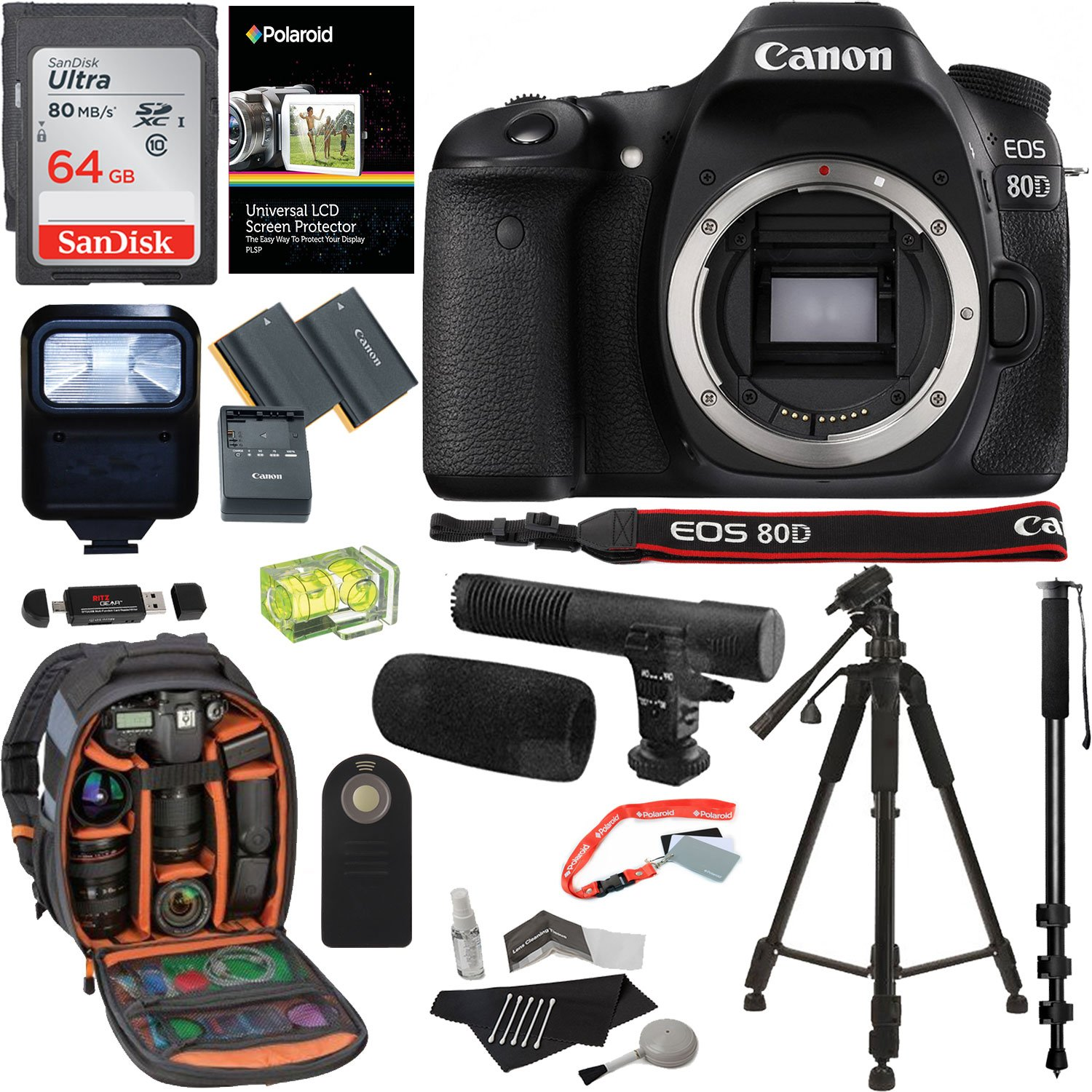 Amazon Canon EOS 80D Digital SLR Camera Body 64GB Memory Card