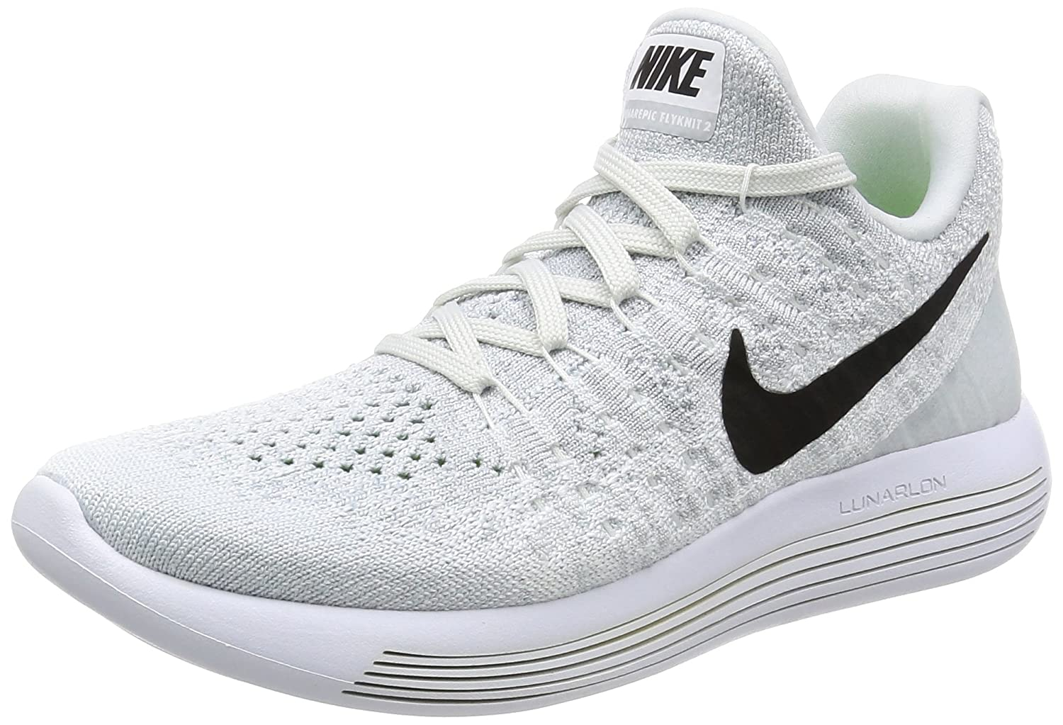 best sneakers 18f47 5d1f9 Nike Women's WMNS Lunarepic Low Flyknit 2, White/Black-Pure Platinum-Wolf  Grey, 6 M US