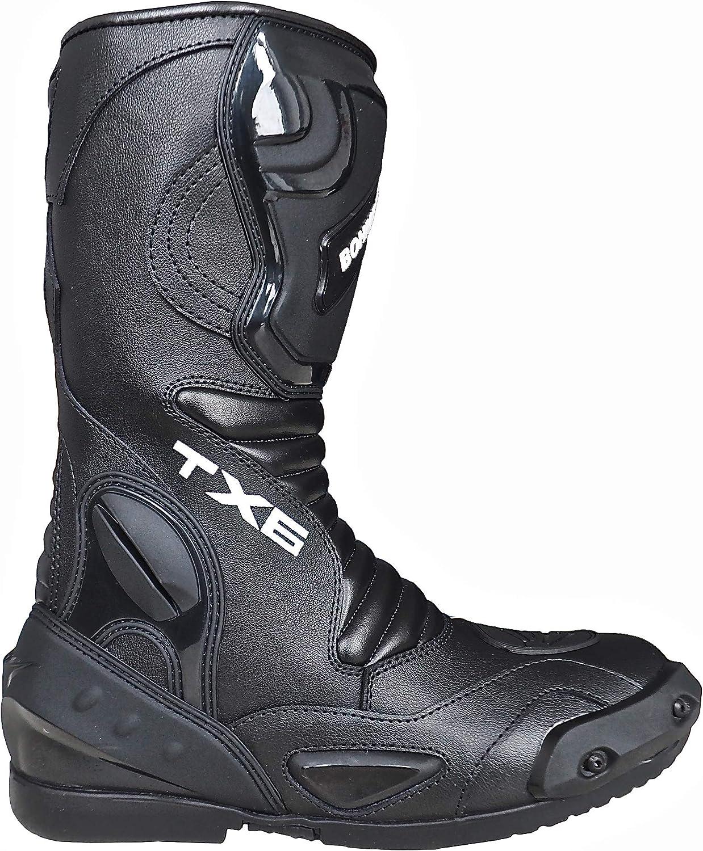 de Cuero Protectores r/ígidos Integrados estables 43 Negro con protecci/ón de Tobillo Impermeables Botas de Motocicleta Hombre Botas de Cuero Deportivas