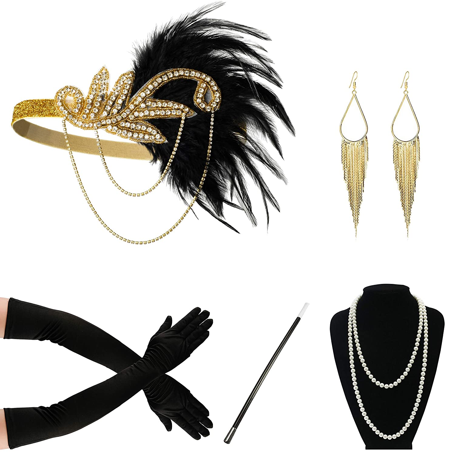 1920s Headband Pearl Necklace Gloves Fancy Dress Accessories Flapper Costume Set FEIBAO