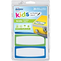 Avery Kids Durable Labels, Dishwasher and Microwave Safe, 89 x 32 mm, 20 Labels (41413)