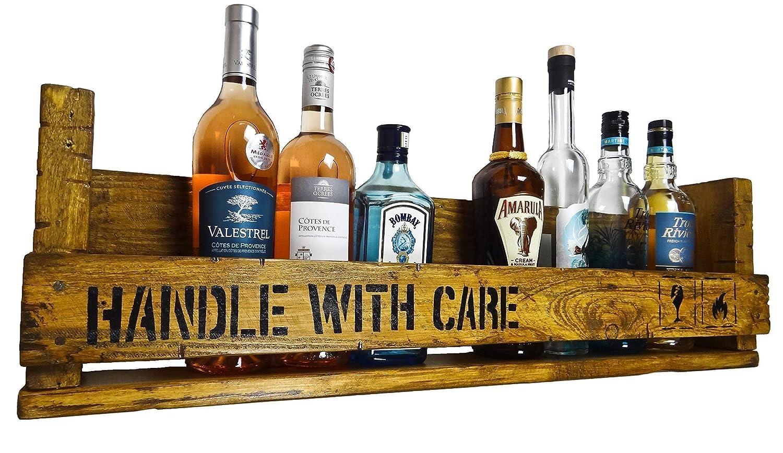 SHaBBY ViNTaGe PaLeTTeNReGaL Handle With Care (HxLxT: 23x8ox8, 5cm) im Frachtkisten Style aus Echtholz ideal als Weinregal oder Wandbar personalisierbar