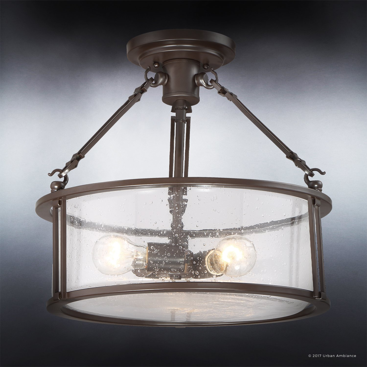 Luxury Industrial Semi-Flush Ceiling Light, Medium Size: 14.25''H x 16''W, with Western Style Elements, Rectangular Link Design, Elegant Estate Bronze Finish and Seeded Glass, UQL2133 by Urban Ambiance by Urban Ambiance (Image #3)