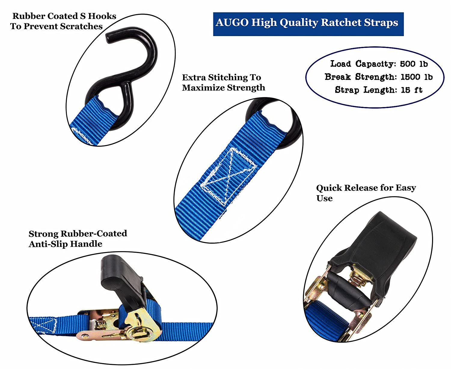 Motorcycle 4 Pk Lawn Equipment Includes 2 Bungee Cord Ratchet Tie Down Straps 15 Ft- 500 Lbs Load Cap- 1500 Lb Break Strength- Cambuckle Alternative- Cargo Straps for Moving Appliances
