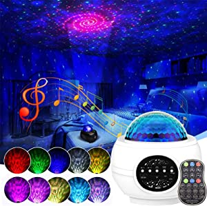Galaxy Projector Star Projector, Starry Night Light for Bedroom, LED Space Sky Moving Ocean Wave Lamp with Remote, Room Decor, Bluetooth Music Speaker for Baby Kids/Party/Gift Choice (White)