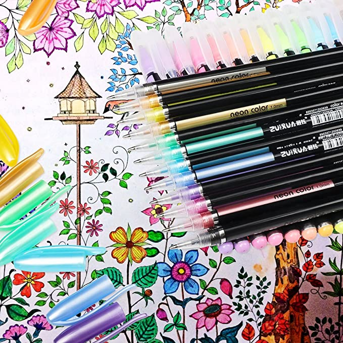 48 Colores Bolígrafos de Gel para colorear adultos - Incluye purpurina, metálico, neón y clásicos - Para scrapbooking, colorear, dibujar y artesanal by Mutsitaz: Amazon.es: Juguetes y juegos