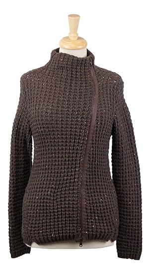 67ed05da3e Brunello Cucinelli Brown Cashmere Blend Knit Sweater Cardigan Size ...