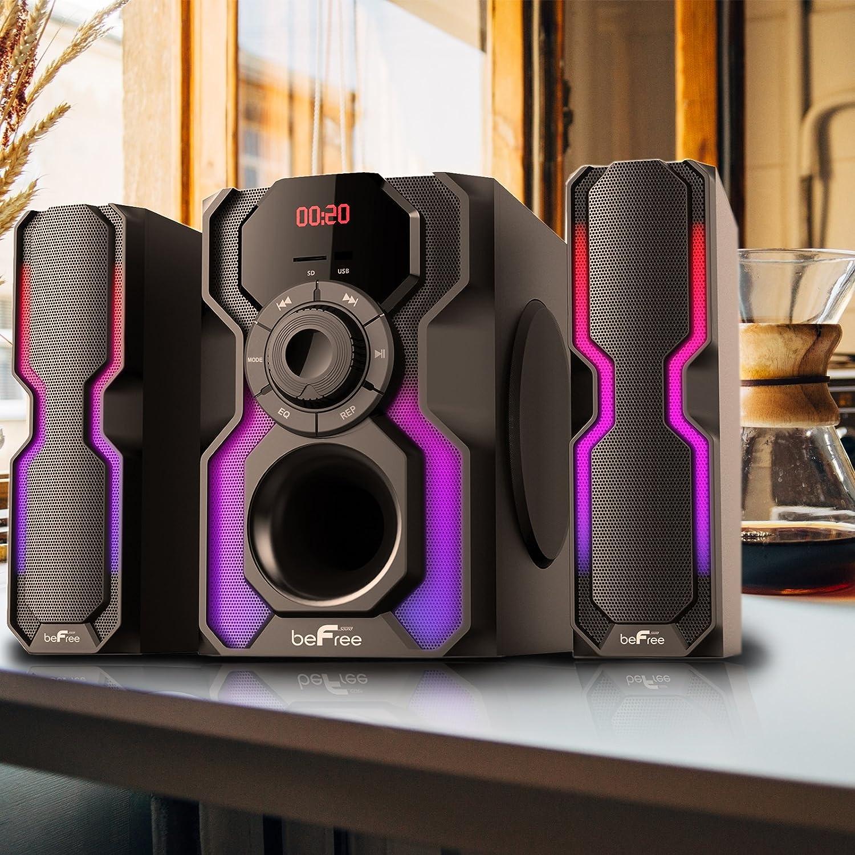 BEFREE SOUND 2.1 CH BLUETOOTH WIRED LED SPEAKER SHELF SYSTEM FM USB SD AUX-IN