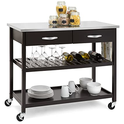 Beau Best Choice Products Mobile Kitchen Island Utility Cart W/Stainless Steel  Countertop, Drawers,