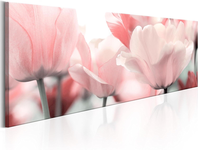 murando Cuadro en Lienzo 135x45 1 Parte Impresión en Material Tejido no Tejido Impresión Artística Imagen Gráfica Decoracion de Pared Flores Tulipan Rosa b-B-0083-b-a