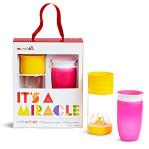 Munchkin It's a Miracle! Gift Set, Includes 10oz Miracle Cup and 14oz Miracle Fruit Infuser, Pink/Yellow