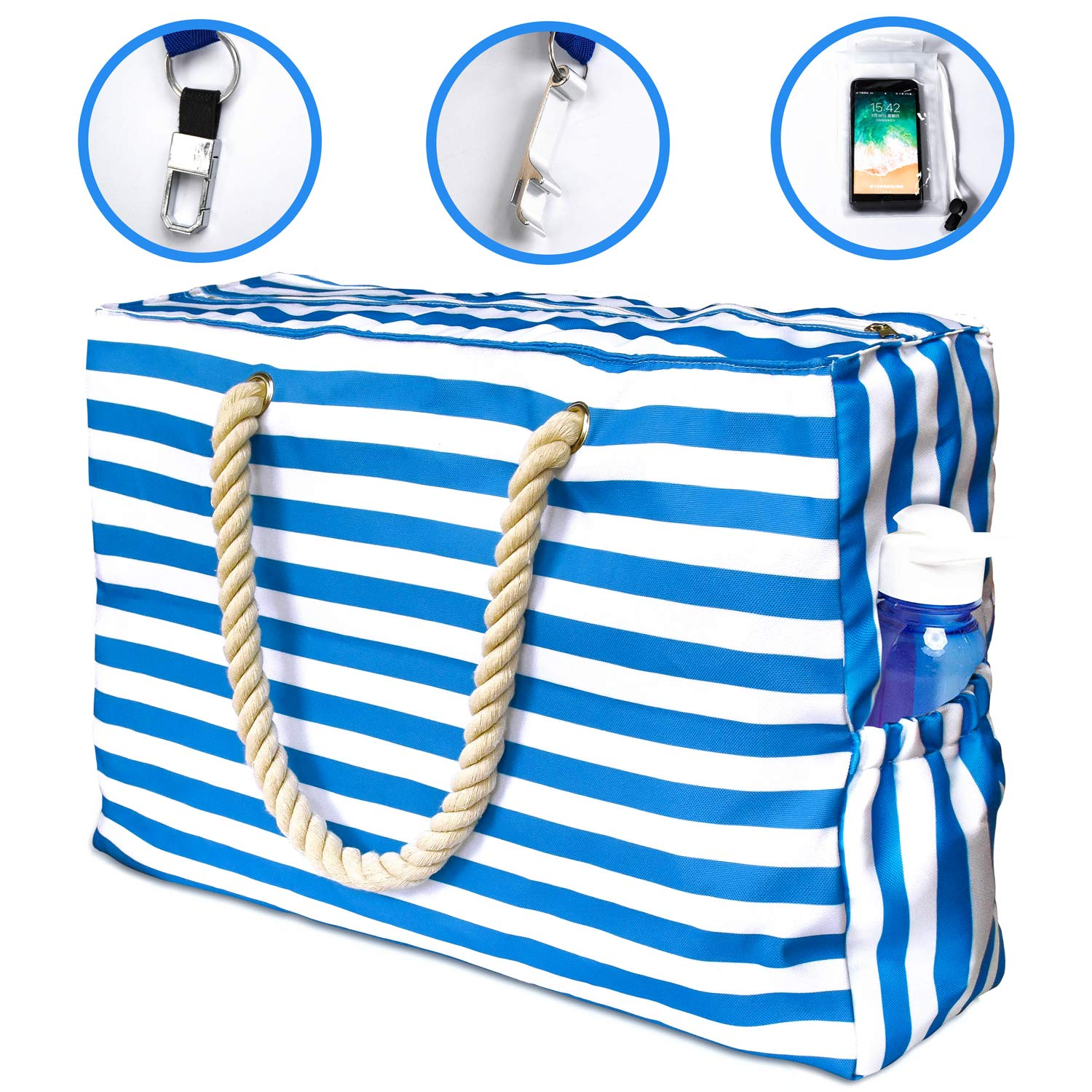 Extra Large Beach Tote Bag, XL Beach Bags and Totes with Cotton Rope Handles, Two Outside Pockets, Zipper Internal Pockets, Waterproof Phone Pouch, Built-In Key Holder Bottle Opener Blue White