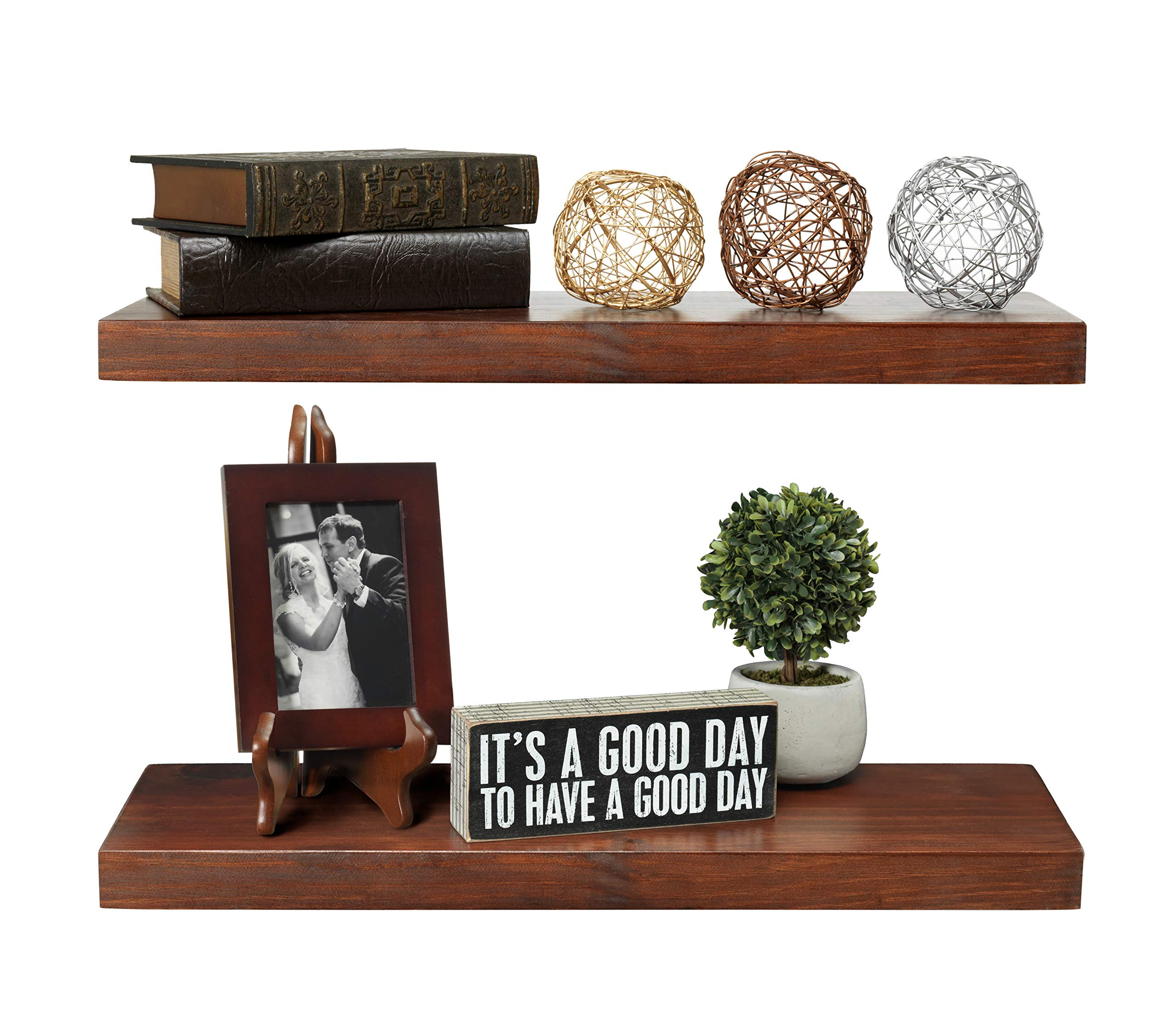 Rustic Farmhouse Premium 2 Tier Floating Wood Shelf - Floating Wall Shelves (Set of 2), Hardware and Fasteners Included (2 Tier 8'', Walnut)