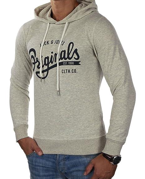 JACK & JONES Men's Jorfilling Sweat Hood Regular Fit Hooded Long Sleeve  Sports Hoodie - white