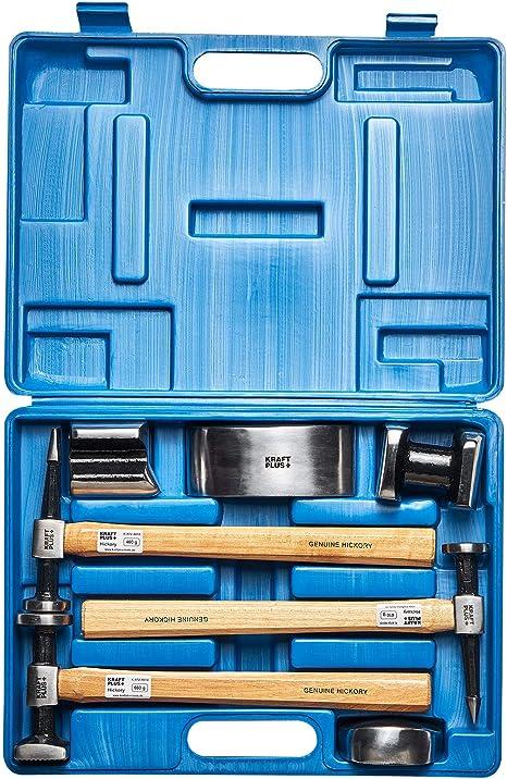 Kraftplus K 872 4010 Karosserie Ausbeulsatz Hickory Holzstiele Ausbeulwerkzeug Ausbeulhammer 7 Tlg Auto
