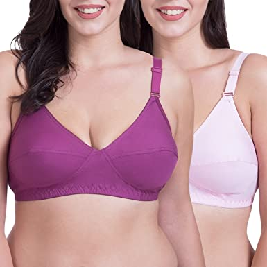 42359c535 Rajnie Full Coverage Non-Padded Cotton Bra Pack of 2  Amazon.in ...